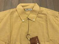 495$ Loro Piana Mustard Cotton and Linen Shirt Size Medium Made in Italy