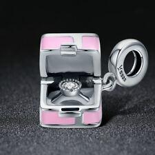 Real Silver Romantic Pink Box Marry Me Surprise Charm Pendant fit Women Bracelet