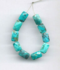 """FACETED HUBEI CLOUD MOUNTAIN TURQUOISE PILLOW BEADS - 3.75"""" Strand - 6713"""