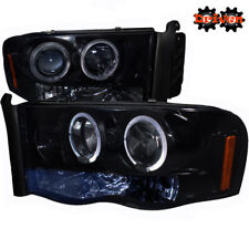02-05 Dodge Ram 1500/2500 Smoked Tinted Headlights w/Dual Halo LED Projector