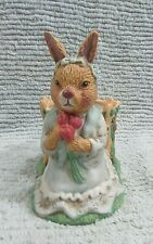 Vintage 1990's Girl Easter Bunny Rabbit in Dress Heavy Ceramic Planter Free S/H