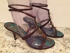 Giuseppe Zanotti Sandals Heels Ankle T-strap Leather Jewelry Brown 38.5/8 Italy