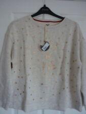 White Stuff Oatmeal C'est La Vie Sweatshirt Top UK 12-14 EUR 40-42 US 8-10 BN