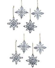 "Kurt Adler 3.5 "" White Clear Snow Snowflake Christmas Ornament Set of 8"
