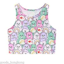 New care bear pattern tank crop top pastel cartoon kawaii cute cami shirt women