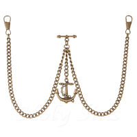 New Bronze Colour Double Albert Pocket Watch Fob Chain With Anchor Pendant