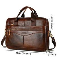 Men's Vintage Genuine Leather Handbag Business Briefcase Messenger Shoulder Bag