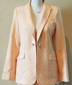CALVIN KLEIN Women's Blazer PETITE Size 6P**Lined**Long Sleeve**Peach**NWT**