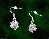 VINTAGE STYLE SILVER IRISH SHAMROCK EARRINGS~ST PATRICKS DAY GIFT~STERLING WIRES