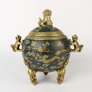 Antique Chinese Gilt Bronze & Cloisonne Incense Burner Censer