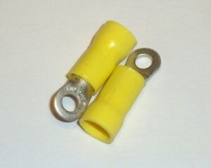 30x Yellow No 6 Ring Crimp 12-10 AWG Tyco AMP Connectors Terminal 34852