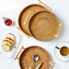Round Rattan Bread Basket Woven Tea Tray With Handles Home Dinner Serving Decor.