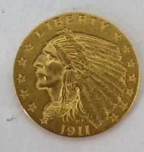 1911 P US $2.50 Gold Indian Coin cleaned .1209AGW L10056