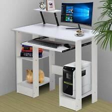 White Wooden Computer Desk Laptop PC Table Shelves Small Corner Workstation