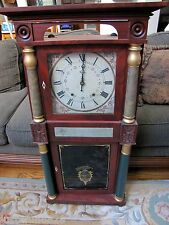 Antique 19c  Empire Patent Eli Terry Clock 2 Weights 4 Column super large sized