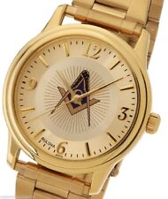 New Men's Gold Finished Bulova Masonic Blue Lodge Watch
