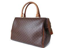 Authentic CELINE MACADAM PVC Canvas, Leather Browns Hand Bag CH13992L