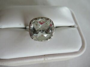 STERLING SILVER & GREEN AMETHYST RING SIZE 8
