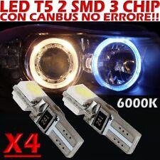 4 LED T5 SMD BIANCO 6000K CANBUS per Fari ANGEL EYES DEPO FK WHITE no error