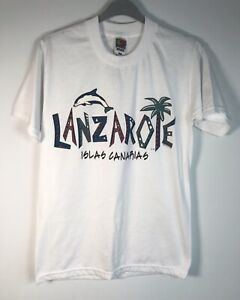Vintage Fruit of the Loom Lanzarote T-shirt Souvenir Summer Beach Holiday S