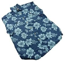 Seapointe Mens Hawaiian Shirt Blue Floral Size L Short Sleeve Button Up Stretch