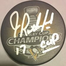 JIM RUTHERFORD SIGNED PITTSBURGH PENGUINS 2017 STANLEY CUP CHAMPIONS PUCK AUTO