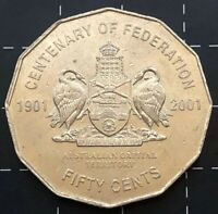 2001 AUSTRALIAN 50 CENT COIN CENTENARY OF FEDERATION - AUS CAPITAL TERRITORY ACT