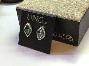 "NWT Uno de 50 Silver-plated Earrings w/ Sahara Blue Swarovski Crystal ""Stalagmit"