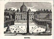 Stampa antica ROMA veduta di Piazza San Pietro 1870 Old antique print Rome