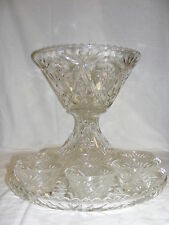 Vintage American Prescut Glass Punch Bowl Stand Compote + Cups + Serving Plate