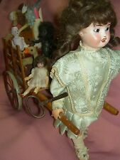 Rare antique sgnd Limoges/France Roullet & Decamps bisque doll & wagon~automaton