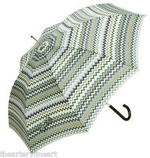 "MISSONI Italy 'Georgia' Zigzag Print Umbrella Green Large Auto-Open 36""x50"" NEW!"
