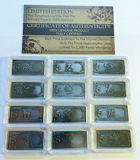 "Bargain Clearance Comp Set of 12 x 5 Gram Tibetan Silver ""Zodiac"" series Ingots"