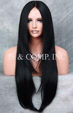 "EX Long 32"" Center Mono Part Straight Lace Front Wig HEAT SAFE Jet Black ROG 1"