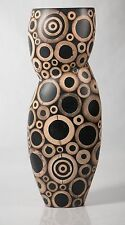 R & Y Augousti Inlaid Bamboo Art Vase, Tall 13 Inches, Beautiful & RARE!
