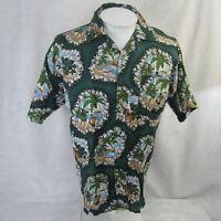 Wallis vtg 1990s Men Hawaiian ALOHA shirt pit to pit 23 new floral dancers luau