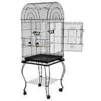 Powder Coated 63'' Rolling Bird Cage Budgie Conure Lovebird Pet W/Stand&Wheels