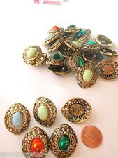 12 Pr Lot Vintage Pierced Earrings Antiqued Goldtone W/ Assorted Stones NO BACKS