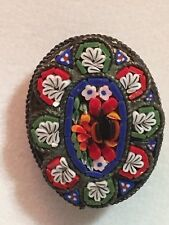 Vintage Flower Micro Mosaic Brooch Pin, Made in Italy