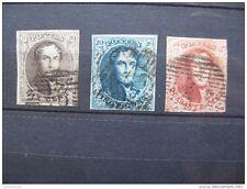 timbres Belgique : médaillons dentellés 1951 n° 6, 7, 8