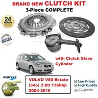FOR VOLVO V50 Estate (545) 2.0D 136bhp 2004-2010 BRAND NEW 3PC CLUTCH KIT + CSC