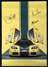 Harrods McLaren F1GTR poster SIGNED Derek Bell, Justin Bell, Andy Wallace, COA