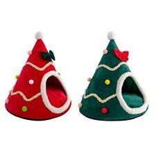 Dog Cat Kennel Soft Bed Xmas Decor Warm Cat Nest Plush Christmas Tree Shape