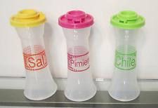 "Tupperware Salt Pepper Chili Spanish 6"" Sal Pimienta Chile Hourglass Shakers NEW"