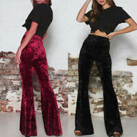 High Ladies Womens Trousers Flare Velvet Crushed Casual Waist Bell Pants Bottoms