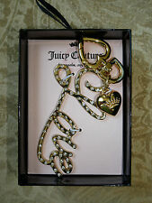 Juicy Couture Gold Tone Key Chain NEW LOVE and Heart Charms