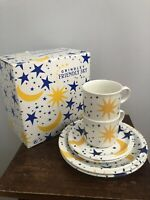 NIB Grindley Friendly Sky Boxed Set Cups Saucers Plates Boxed England Celestial