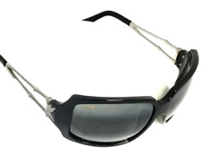 RARE MAUI JIM BAMBOO SUNGLASSES Black Frames w/ Grey Polarized Lenses MJ 104-17