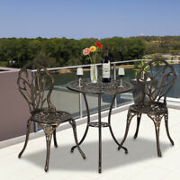 Outdoor 3 Piece Tulip Bistro Set of Table Chairs European Style Cast Aluminum