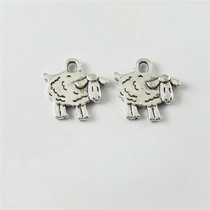 30PCS Vintage Style Silver Tone Lovely Sheep Pendant Charms 15*10*1mm